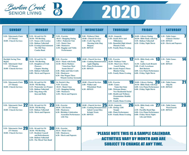 Sample Activity Calendar